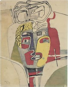 "Study ""abstractisée"" from the portrait. Study for ""hands crossed on the head"" 1939 Graphite pencil, ink, color ink and watercolor on paper  Dimensions: H: 0.26 x L: 0,20 m  Signed and dated lower left LC 39  Drawing FLC 3029  Paris. Fondation Le Corbusier."