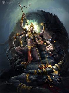 Shiva Art, Krishna Art, Hindu Art, Durga Painting, Lord Shiva Painting, Kali Goddess, Goddess Art, Mother Goddess, Mother Kali