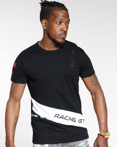 54cb8c791 Black Racing Gtx Taping & Striped Tee Racing Gtx Taping & Striped Tee -  Black