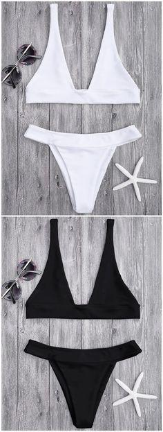 Up to 80% OFF! Plunge Bikini Top And High Cut Bottoms. #Zaful #swimwear Zaful, zaful bikinis, zaful dress, zaful swimwear, style, outfits,sweater, hoodies, women fashion, summer outfits, swimwear, bikinis, micro bikini, high waisted bikini, halter bikini, crochet bikini, one piece swimwear, tankini, bikini set, cover ups, bathing suit, swimsuits, summer fashion, summer outfits, Christmas, ugly Christmas, Thanksgiving, Gift, New Year Eve, New Year 2017. @zaful Extra 10% OFF Code:ZF2017