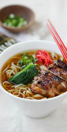 Lemongrass Chicken Soy Sauce Ramen - delicious ramen with amazing toppings. Homemade ramen never tasted so good with Nissin RAOH ramen | http://rasamalaysia.com