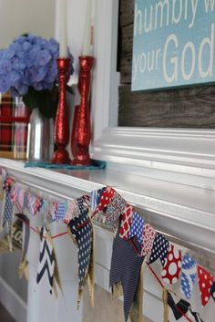 Fourth of July mantel - Red glitter candlesticks!!