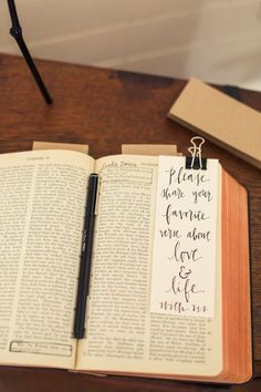 Alternative Guestbook: Guests sign the bible as well as underline, circle, highlight verses that they use during tough times and in their relationships.