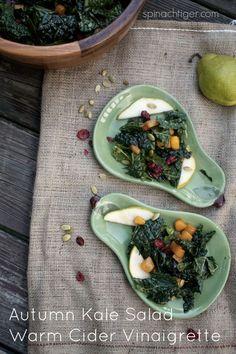 Perfect Autumn Potluck Salad: Sweet Potatoes, Kale, Pumpkin Seeds, Cranberries, Warm Honey Mustard Vinaigrette