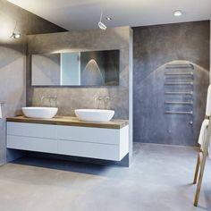 meubles blanc et bois et salle de bain béton ciré- penthouse de ... - Beton Cire Sur Carrelage Mural Salle De Bain