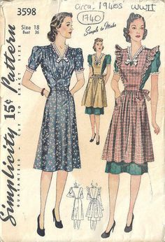 1940s WW11 Vintage Sewing Pattern B36 PINAFORE & DRESS by tvpstore