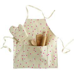Kids pink star apron set