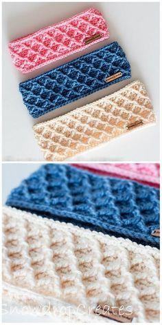 Crochet Fox Pattern Free, Crochet Headband Pattern, Crochet Cross, Crochet Stitches Patterns, Crochet Motif, Free Crochet, Knitting Patterns, Easy Crochet Headbands, Crochet Scarves