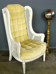 Richmond: Vintage Golden Yellow Velvet Wingback Chair $100    Http://furnishlyst.com/listings/910959 | Richmond Listings | Pinterest |  Velvet Wingback Chair, ...