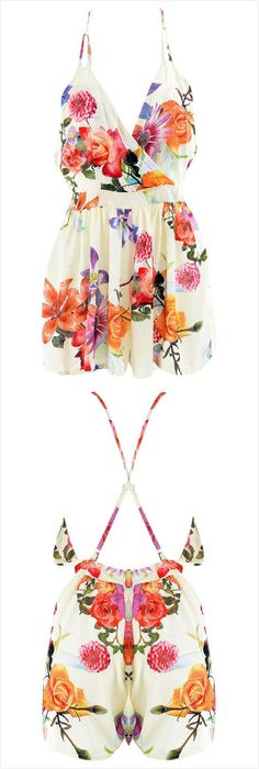 Floral Stylish Surplice Front Romper.Check more from www.oasap.com .