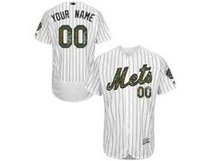 78507b08f2b Men s Majestic New York Mets Customized Authentic White 2016 Memorial Day  Fashion Flex Base MLB Jersey