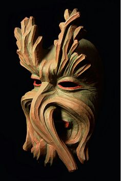 Wooden carved Greenman or Wild Man mask from Germany.