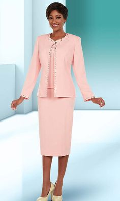 Ben Marc Executive 11669 Womens Business Skirt Suit With Studded Trim Design - Spring 2018 - ExpressURWay Women Church Suits, Suits For Women, Clothes For Women, Suit Fashion, Modest Fashion, Fashion Outfits, Funeral Dress, Fall Wedding Outfits, Classy Suits