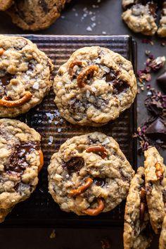 Salted Pretzel Cookies – Famous Last Words Chocolate Chip Cookies, Chocolate Crunch, Chocolate Chips, Chocolate Cream, Oatmeal Cookies, Chocolate Ganache, Pretzel Cookies, Salted Pretzel, Baby Cookies