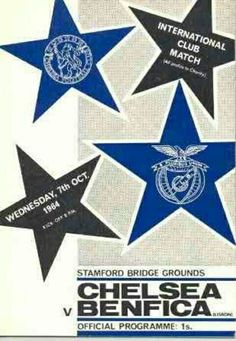Chelsea 2 Benfica 4 in Oct 1964 at Stamford Bridge. Programme cover #Friendly