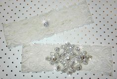 Bridal Garter Set Simply Elegant with by DESIGNERSHINDIGS on Etsy, $28.00