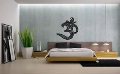 Housewares Wall Vinyl Decal Om Symbol Buddha Sacred Indian Design Art Mural Interior Decor Sticker Buddhism Divine Buddhist Sign SV4040