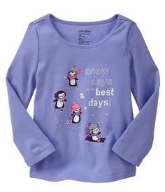 Nwt Baby Gap Girls size 3 3T Purple Penguin tee shirt long sleeve top Snow Days  #BabyGap #EverydayHoliday