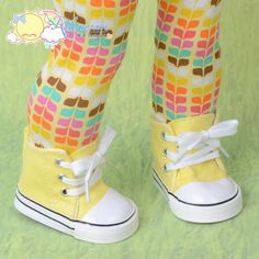 "Releaserain Doll Shoes Cons Canvas Sneakers Boots Yellow for 18"" American Girl Dolls"