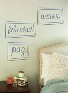 Vinilo decorativo dormitorio frases felicidad paz amor