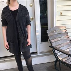 "AEO Oversized Cardigan NWOT AEO oversized cardigan in a super cool ""faded"" black color. It even has thumb holes!!! American Eagle Outfitters Sweaters Cardigans"