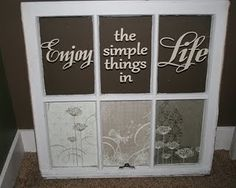 A great DIY building material for those funky pieces are your old windows. Here are 10 projects you can make all on your own by repurposing your old windows. Glass Cabinet Your windows can be turned into the Old Window Crafts, Old Window Projects, Vinyl Projects, Craft Projects, Craft Ideas, Decor Ideas, Decorating Ideas, Old Window Panes, Window Art