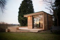 studios Contemporary Garden Studio Room/ Slough, UK Set in the rural forests of England, the cedar clad 'guest house' is nestled amongst the trees as if it belongs there. The garden studio includes a bathroom, living area . Shed Office, Backyard Office, Backyard Studio, Garden Office, Outdoor Office, Outdoor Rooms, Backyard Projects, Backyard Ideas, Modern Shed