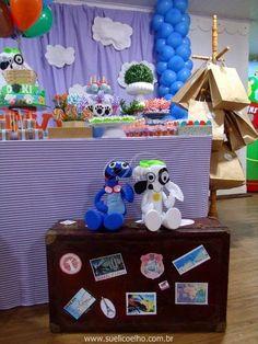 Mala Festa viagem de balão do Doki - Discovery Kids http://www.suelicoelho.com.br/2014/07/festa-infantil-doki-para-o-levi.html