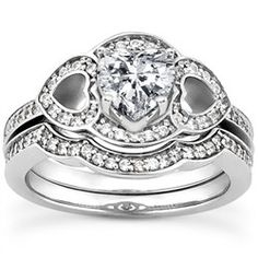 1.11 Cttw Round and Heart Shape Diamond 2 Piece Bridal Set Engagement Ring…