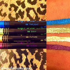 @jordana_cosmetics New Cat Eye Liner in Twilight, Envy, Future, & Suade  I don't think they advertise it as so, but these puppies are definitely waterproof & have amazing wear! Put them on, & good luck on getting them to budge! #eyeliner #liner #metallic #glitter #jordana #jordanacosmetics #eyes #swatch #swatches #obsessed #makeuphaul #makeupkit #mua #makeupartist #motd #eotd #makeupporn #instamakeup #makeupaddict #makeup #beauty #glam #love #drugstore #new #cateye