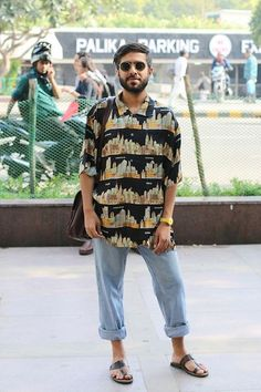 Ray Ban Sunglasses, Vintage Oversized Shirt, Warehouse Folded Up Denims, Bata Kohlapuri Sandals, Swatch Yellow Watch