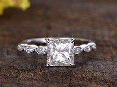 3 Carat Princess Cut Moissanite Engagement Ring With Diamond 14k White Gold Art Deco Antique Milgrain Stacking Band