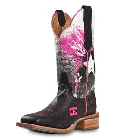 On sale! #zulily! CINCH EDGE Black & Pink Explosion Leather Western Boot by CINCH EDGE #zulilyfinds