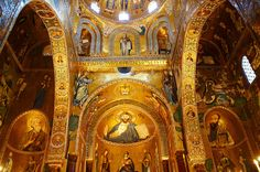 Photos of the Palatine Palace Chapel, Palermo, Sicily sumptuous Byzantine mosaics by Paul Williams to download