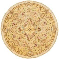 Handmade Aubusson Creteil Beige/ Light Gold Wool Rug (3'6 Round)