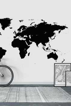 World map grey wall mural wallpaper map wall murals pinterest world map black wall mural wallpaper gumiabroncs Choice Image