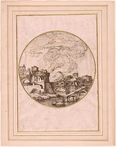 Giovanni Francesco Grimaldi | Rome in Flames. Verso: Landscape with Fisherman | Drawings Online | The Morgan Library & Museum