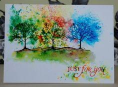 Brusho Trees Brusho Techniques, Colouring Techniques, Watercolor Techniques, Art Graphique, Copics, Watercolor Cards, Creative Cards, Flower Cards, Ink Art