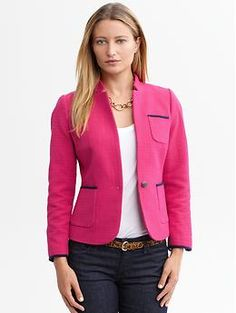 Piped pink cotton blazer | Banana Republic. Great texture & cut. how do you feel about the color on you?