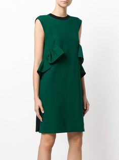 Marni sleeveless velvet back ruffle dress