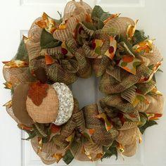 Amazon.com: New! Full! Large Handmade Quilted Pumpkin Deco Mesh Autumn Wreath…