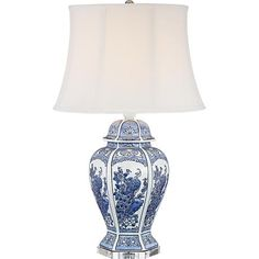 Monique Blue and White Peacock Table Lamp faveb