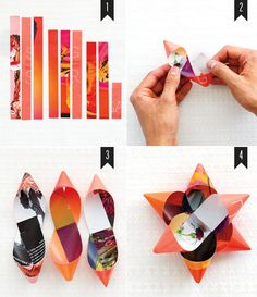 old magazines cut into strips, make into gift bows.  LOVE this idea!  I think all wrapped gifts should have a bow.