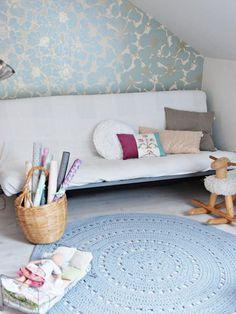 A creative little wallpapered craft corner with large handmade crochet rug . Cozy Corner, Craft Corner, Cozy Nook, Wallpaper Crafts, Crochet Home, Handmade Home, Girls Bedroom, Bedroom Nook, Home Deco