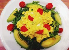 Paleo breakfast - Scrambled eggs with spinach, tomato and avocado