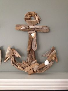 driftwood anchor, crafts, wall decor, My DIY West Coast souvenir Driftwood Anchor- Whale and Initial My daughter and I recently took a girls trip to Vancouver Island. We gathered up some small driftwood pieces and shells on our travels along the way. Driftwood Projects, Driftwood Art, Diy Projects, Driftwood Ideas, Decorating With Driftwood, Seashell Crafts, Beach Crafts, Diy And Crafts, Tape Crafts