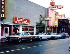 A 1966 photo of the Farrell's Ice Cream Parlour on Northwest Avenue, with its neighbor, the Speck, serving Kentucky Fried Chicken. Kentucky Chicken, Kentucky Fried, Farrell's Ice Cream, Ice Cream Parlor, Downtown Portland, Portland Oregon, Portland Time, Arcade, Architecture