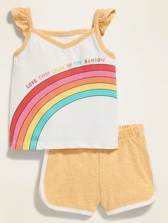 Old Navy Babies' Graphic Pocket Tank & Dolphin-Hem Shorts Set Love Every Color Of The Rainbow/Sun On The Beach Regular Size M Little Girl Outfits, Toddler Outfits, Kids Outfits, Summer Outfits, Luxury Baby Clothes, Cute Baby Clothes, Girls Clothes Shops, Mens Polo T Shirts, Girl Bottoms