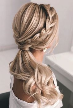 30 Pony Tail Hairstyles Wedding Party Perfect Ideas ❤ pony tail hairstyles elegant wavy low with braid elstilespb hair styles for wedding wedding hair styles hairstyles wedding guest hairstyles wedding hairstyles hairstyle Wedding Hair Half, Wedding Hair And Makeup, Wedding Bride, Princess Wedding, Prom Makeup, Wedding Updo, Wedding Night, Wedding Party Hair, Boho Wedding