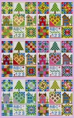 Patchwork cross stitch charts..